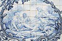 0362719 © Granger - Historical Picture ArchiveART & ARCHITECTURE.   Female figures, azulejos tiles, Estoi Palace (19th century) azulejos, Estoi, Faro district, Algarve, Portugal. Full Credit: De Agostini / W. Buss / Granger, NYC -- All Rights Reserved.