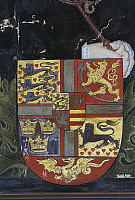 0362726 © Granger - Historical Picture ArchiveART & ARCHITECTURE.   Coat of arms of King Christian III, detail from the family tree of the House of Denmark, Nyborg Castle (12th century), Nyborg, Denmark. Full Credit: De Agostini / A. Dagli Orti / Granger, NYC -- All rights reserved.