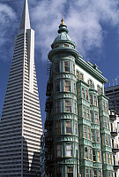 0362750 © Granger - Historical Picture ArchiveART & ARCHITECTURE.   Transamerica Pyramid (1969-1972) and Columbus Tower (1907), San Francisco, California, United States. Full Credit: De Agostini Picture Library / Granger, NYC -- All Rights Reserved.