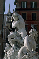 0419948 © Granger - Historical Picture ArchiveART & ARCHITECTURE.   Statues in front of a building, Fountain of Neptune, Piazza Navona, Rome, Lazio, Italy Full credit: De Agostini / W. Buss / Granger, NYC -- All Rights Reserved.