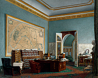 0420301 © Granger - Historical Picture ArchiveART & ARCHITECTURE.   Napoleon III's study at the Tuileries, 1862, watercolour by Jean Baptiste Fortune de Fournier (1798-1864), 41, 5x50 cm Full credit: De Agostini / G. Dagli Orti / Granger, NYC -- All Rights Reserved.