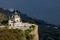 0420703 © Granger - Historical Picture ArchiveART & ARCHITECTURE.   The Church of Christ's Resurrection (1892), in a panoramic position on the Black Sea, Foros, Crimea, Ukraine Full credit: De Agostini / W. Buss / Granger, NYC -- All Rights Reserved.