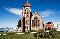 0420897 © Granger - Historical Picture ArchiveART & ARCHITECTURE.   Christ Church Cathedral (1892), Port Stanley, East Falkland, Falkland Islands, or Malvinas Islands (British Overseas Territory), United Kingdom Full credit: De Agostini / R. Valterza / Granger, NYC -- All Rights Reserved.