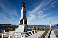 0420900 © Granger - Historical Picture ArchiveART & ARCHITECTURE.   Monument to celebrate British victory in naval battle of 8 December 1914 between Royal Navy and Imperial German Navy, Port Stanley, East Falkland, Falkland Islands, or Malvinas Islands (British Overseas Territory), United Kingdom Full credit: De Agostini / R. Valterza / Granger, NYC -- All Rights Reserved.
