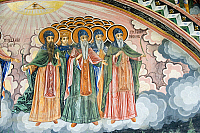 0420995 © Granger - Historical Picture ArchiveART & ARCHITECTURE.   Figures of saints, detail from frescoes of Zakharii Khristovich Zograf (1840) in narthex of Most Holy Mother of God church (1835) in Monastery of Dormition (Troyan monastery), founded in 1600, Bulgaria Full credit: De Agostini / W. Buss / Granger, NYC -- All Rights Reserved.