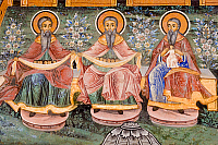0420996 © Granger - Historical Picture ArchiveART & ARCHITECTURE.   Figures of saints, detail from frescoes of Zakharii Khristovich Zograf (1840) in narthex of Most Holy Mother of God church (1835) in Monastery of Dormition (Troyan monastery), founded in 1600, Bulgaria Full credit: De Agostini / W. Buss / Granger, NYC -- All Rights Reserved.