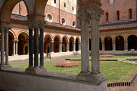 0421271 © Granger - Historical Picture ArchiveART & ARCHITECTURE.   Arcades of cloister supported by groups of four columns on single base, Basilica of Sant'Andrea (13th century), Vercelli, Piedmont, Italy Full credit: De Agostini / C. Sappa / Granger, NYC -- All Rights Reserved.