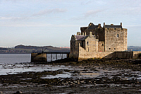 0421590 © Granger - Historical Picture ArchiveART & ARCHITECTURE.   Blackness castle (15th century), in a panoramic position on the Firth of Forth, West Lothian, Scotland, United Kingdom. Full credit: De Agostini / W. Buss / Granger, NYC -- All Rights Reserved.