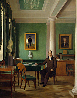 0421832 © Granger - Historical Picture ArchiveART & ARCHITECTURE.   Portrait of Prince Viktor Pavlovich Kochubey in his studio, 1831, painting by Aleksey Gavrilovic Venetsianov (1780-1847) Full credit: De Agostini / A. Dagli Orti / Granger, NYC -- All Rights Reserved.