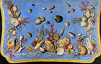 0421959 © Granger - Historical Picture ArchiveART & ARCHITECTURE.   Preparatory painting for floor console decorated with shells and corals, 1760, by Giuseppe Zocchi (1711-1767), oil on canvas Full credit: De Agostini / G. Nimatallah / Granger, NYC -- All Rights Reserved.