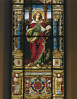 0422040 © Granger - Historical Picture ArchiveART & ARCHITECTURE.   Stained glass window of St. John the Evangelist, Stockholm, Sweden Full credit: De Agostini / A. Dagli Orti / Granger, NYC -- All Rights Reserved.