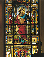 0422042 © Granger - Historical Picture ArchiveART & ARCHITECTURE.   Stained glass window of a saint, Stockholm, Sweden Full credit: De Agostini / A. Dagli Orti / Granger, NYC -- All Rights Reserved.