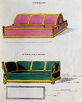 0422167 © Granger - Historical Picture ArchiveART & ARCHITECTURE.   Chancelier sofa and ottoman for recess, Illustration by George Smith from Cabinet Maker and Upholsterer's Guide, 1826, 19th century, United Kingdom Full credit: De Agostini Picture Library / Granger, NYC -- All Rights Reserved.