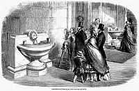 0079729 © Granger - Historical Picture ArchiveBRITISH MUSEUM, 1860.   Drinking fountains at the British Museum, London, England. Wood engraving, 1860.