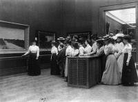 0322101 © Granger - Historical Picture ArchiveART MUSEUM, c1899.   A class from Central High School in Washington, D.C., visiting an art gallery. Photographed by Frances Benjamin Johnston, c1899.