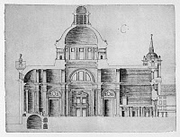 0132768 © Granger - Historical Picture ArchiveEL ESCORIAL: PLAN, c1570.   Cross section of the basilica along its major axis of El Escorial palace monastery in Spain. Drawing by architect Juan de Herrera, c1570.