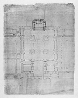 0132774 © Granger - Historical Picture ArchiveEL ESCORIAL: BASILICA PLAN.   Floor plan of the basilica at El Escorial monastery in Spain, showing four central columns and the high altar at the top. Drawing by architect Juan de Herrera, c1570.