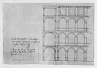 0132775 © Granger - Historical Picture ArchiveEL ESCORIAL: ARCHED FACADE.   An arched facade of El Escorial palace and monastery in Spain. Drawing by architect Juan de Herrera, c1570.