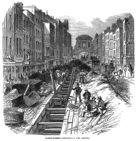 0066780 © Granger - Historical Picture ArchiveLONDON: FLEET STREET SEWER.   Deepening the Fleet Street sewer at London in 1845: contemporary engraving.