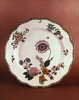 0021590 © Granger - Historical Picture ArchiveFRENCH FAIENCE, c1760.   French faience chrysanthemum plate made by Veuve Perrin, Marseilles, c1760.