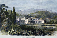 0067088 © Granger - Historical Picture ArchiveROMAN VILLA.   A Roman villa belonging to Pliny the Younger (c61-113 A.D.). Wood engraving, American, 19th century.