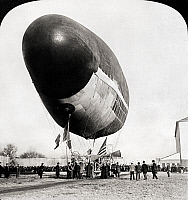 0090868 © Granger - Historical Picture ArchiveFRANCOIS AIRSHIP, 1904.   The Francois airship preparing to ascend for a flight at the St. Louis World's Fair, 1904.