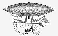 0090983 © Granger - Historical Picture ArchiveGIFFARD AIRSHIP, 1852.   Airship invented by Henri Giffard in 1852, which was the first steam-powered and navigable airship.