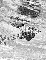 0091194 © Granger - Historical Picture ArchiveONE-MAN DIRIGIBLE, 1878.   Mark Quinlan nearly falling from a one-man dirigible during a flight over Hartford, Connecticut in June 1878. The dirigible was designed and built by Charles Ritchel. Contemporary American engraving.