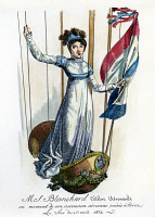 0011058 © Granger - Historical Picture ArchiveBLANCHARD: ITALY, 1812.   Madame Jean Pierre Blanchard rising in a balloon above Turin, Italy, in 1812: contemporary French colored engraving.