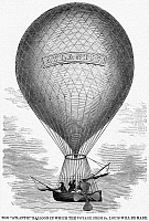 0014007 © Granger - Historical Picture ArchiveATLANTIC BALLOON, 1859.   The 'Atlantic,' in which John Wise and three companions set out from St. Louis, Missouri, on 1 July 1859 to prove that a west-to-east crossing of the Atlantic Ocean was possible. Contemporary wood engraving.