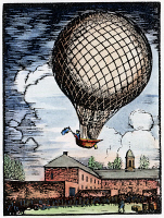 0054028 © Granger - Historical Picture ArchiveBALLOONING: US, 1793.   Jean Pierre Blanchard and a small dog ascend from the Walnut Street Prison yard in Philadelphia for the first balloon flight in the United States, 9 January 1793. Wood engraving.