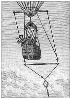 0090995 © Granger - Historical Picture ArchiveOBSERVATION GONDOLA.   Gondola of an observation balloon, 19th century.