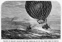 0090997 © Granger - Historical Picture ArchiveMAIL BALLOON CRASH, 1870.   Paul Rolier's mail carrying balloon falling into the North Sea, on its way from Paris to Norway during the Franco-Prussian War, 1870. American newspaper engraving.