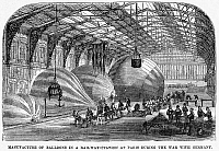 0090999 © Granger - Historical Picture ArchiveBALLOON MANUFACTURE.   Manufacture of hot air balloons in a railway station in Paris during the Franco-Prussian War, 1870-71.