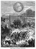 0091075 © Granger - Historical Picture ArchiveMILITARY BALLOON.   The first attempt at military aeronautics, by French forces at the time of the French Revolution, 1790s. Wood engraving, American, 1869.