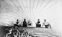 0091091 © Granger - Historical Picture ArchiveDOUGHTY & MOORE, 1886.   American aeronauts John G. Doughty and Alfred E. Moore photographed with two assistants inside their hot air balloon before a flight over Connecticut, 1886.