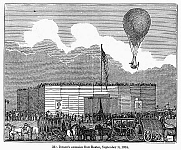 0091139 © Granger - Historical Picture ArchiveHOT AIR BALLOON ASCENT.   Charles Durant, the first American aeronaut, ascending in his balloon over Boston, 13 September 1834. 19th century engraving.