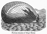 0091171 © Granger - Historical Picture ArchiveBALLOON ACCIDENT.   Hot air balloon that ascended from Norwich, England has fallen into the sea. Wood engraving, American, c1835.