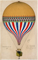 0621887 © Granger - Historical Picture ArchiveHOT AIR BALLOON, 1874.   A hot air balloon with the French tricolor. Three passengers, possibly Jules Duruof, his wife, and another man, stand in the basket during an ascension in Paris, 6 June 1874. Color lithograph.