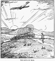0076126 © Granger - Historical Picture ArchiveTRANSCONTINENTAL FLIGHT.   'The Santa Fe Trail.' Cartoon by Rollin Kirby from the 'New York World,' 5 May 1923, hailing the first non-stop transcontinental flight by Army pilots John A. Macready and Oakley G. Kelly, 2-3 May 1923.