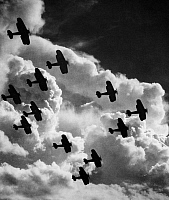 0056957 © Granger - Historical Picture ArchiveBIPLANES, c1917.   Biplanes flying in formation during World War I, c1917.