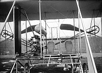 0108733 © Granger - Historical Picture ArchiveWRIGHT BROTHERS' PLANE.   Pilot and passenger seat of the Wright brothers' airplane, c1911.