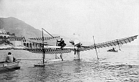 0117764 © Granger - Historical Picture ArchiveHENRI FABRE (1823-1915).   French entomologist. Photographed testing his hydravion plane in Monaco. Photograph, c1911.
