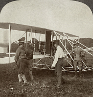 0264470 © Granger - Historical Picture ArchiveWRIGHT BROTHERS BIPLANE.   The Wright Brothers' biplane preparing for flight at Fort Myer, Virginia. Photograph, c1909.