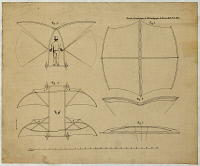0354212 © Granger - Historical Picture ArchiveCAYLEY FLYING MACHINE, 1853.   Drawing of a man-powered flying machine designed by English pioneer of aviation, George Cayley. Lithograph, 1853.