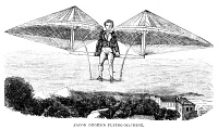0354799 © Granger - Historical Picture ArchiveFLYING MACHINE, 1807.   Flying machine invented by Jacob Degen, 1807. Wood engraving, American, 1857.