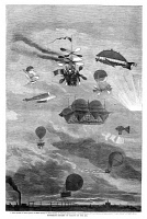 0354800 © Granger - Historical Picture ArchiveFLYING MACHINES, 1864.   'Different Systems of Sailing in the Air.' Featuring the inventions of: 1. Alban 2. Petin 3. Henin 4. Helle 5. Julien and Sanson 6. Jarcot 7. Teisol 8. Moreau-Seguin 9. Nadar. Wood engraving, American, 1864.