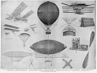 0355113 © Granger - Historical Picture ArchiveFLYING MACHINES.   1. Langley's flying machine 2 and 3. Chanute's glider 4. Maxim flying machine 5. Boiler of Maxim's machine 6 and 7. Balloon with electric motor and propeller 8. Great Captive Balloon 9. Section of car of the Great Captive Balloon 10. Netting knot 11. Captive Balloon netting knot 12. Santos-Dumont air ship 13. Parachute.