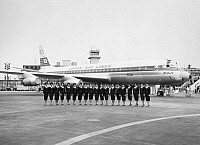 0091875 © Granger - Historical Picture ArchiveJAPAN AIRLINES.   Flight attendants of a Douglas DC-8 of Japan Airlines. Mid-20th century photograph.