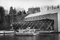 0621903 © Granger - Historical Picture ArchiveBELL: CYGNET I, 1907.   Alexander Graham Bell with his tetrahedral kite 'Cygnet I' at a kite hangar on his estate Beinn Bhreagh, Cape Breton Island, Nova Scotia. Photograph, 5 November 1907.